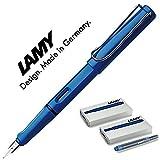 LAMY Füller SAFARI Füllhalter / Viele schöne Farben, auch im Set mit Tintenpatronen wählbar (Mit 10 Tintenpatronen, Blau (M)14)