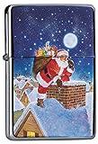LEotiE SINCE 2004 Chrom Sturm Feuerzeug Benzin Bedruckt Weihnachtsmann Weihnachtsmann Schornstein Dächer
