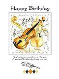 Carte d\'anniversaire Motif violon (7x5) unique