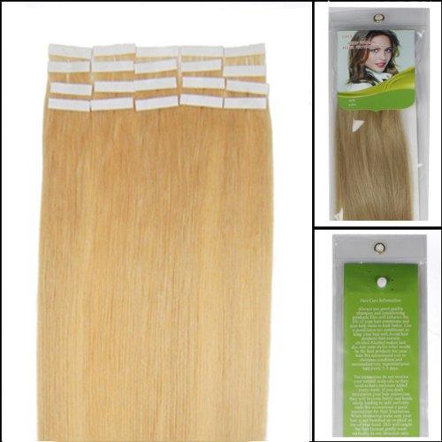 45,7 cm Bandes adhésives Extensions de cheveux humains droite Couleur 24 Blond doré 40 g 20 pièces Beauté Cheveux Style