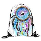 Drempad Tunnelzug Rucksäcke, Dream Catcher Yin Yang Moon Patterned Themed Printed Drawstring Bundle Book School Shopping Travel Back Bags Draw String Gym...