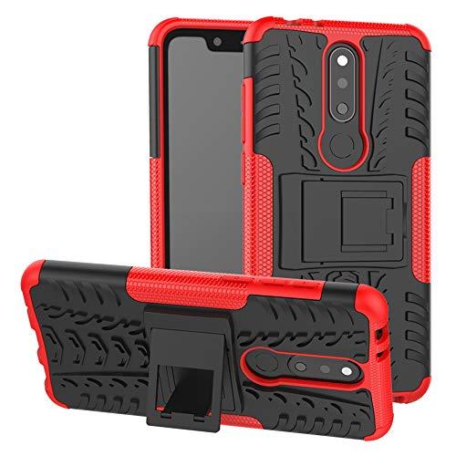 LFDZ Nokia 5.1 Plus 2018 Tasche, Hülle Abdeckung Cover schutzhülle Tough Strong Rugged Shock Proof Heavy Duty Case Für Nokia 5.1 Plus 2018 / Nokia X5 Smartphone (mit 4in1 Geschenk verpackt),Rot