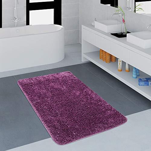 Paco Home Badezimmer Teppich Einfarbig Kuschelig Gemütlich In Versch. Größen u. Farben, Farbe:Lila, Grösse:50x80 cm