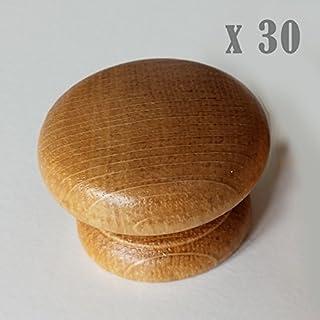 30 x Wooden Oak Kitchen Door knobs Handles Cabinet 40 mm Golden Oak