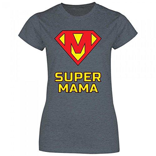Royal Shirt rs88 Damen T-Shirt Super Mama Superheldin | Geschenk Idee Geburtstag Muttertag, Größe:L, Farbe:Dark Heather