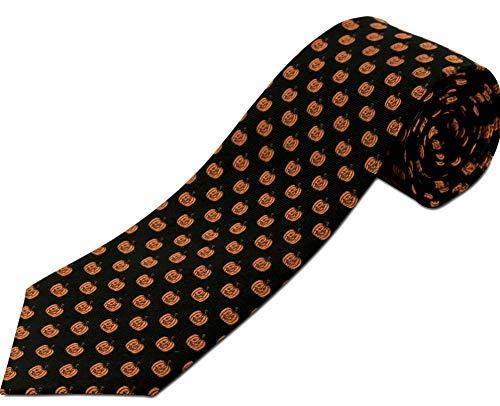 Longtiestore Jack-o-Lantern Kürbis-Krawatte, 100% Seide, für große und große Männer (erhältlich in 160 cm XL und 178 cm XXL) - Schwarz - X-Lang (160.0 cm)