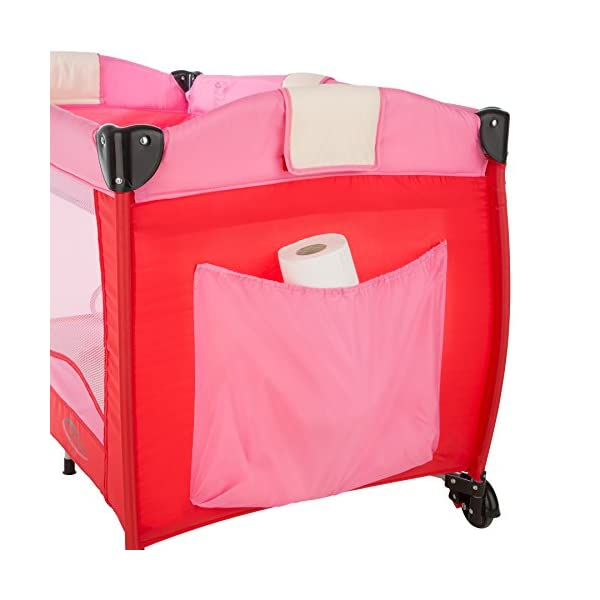 TecTake New portable child baby travel cot bed playpen with entryway -different colours- (Pink) TecTake Suitable for children up to an age of 36 months. Bed Size: 128cm length, 67cm width, 81cm height Changing mat: 68cm length, 51cm width 4