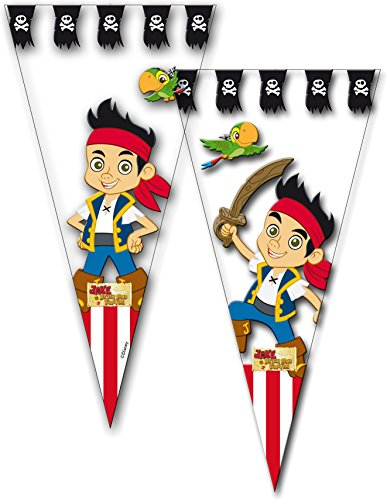 10 Partytüten * JAKE und die NIMMERLAND PIRATEN * von Disney // CONO // Party Kinder Party Mottoparty Kindergeburtstag Mitgebsel Geschenktüten Tüten Pirate Neverland ()