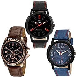 Gesture Analogue Multicolour Dial Combo Of Three Beautiful Watches for Men - GA-7400