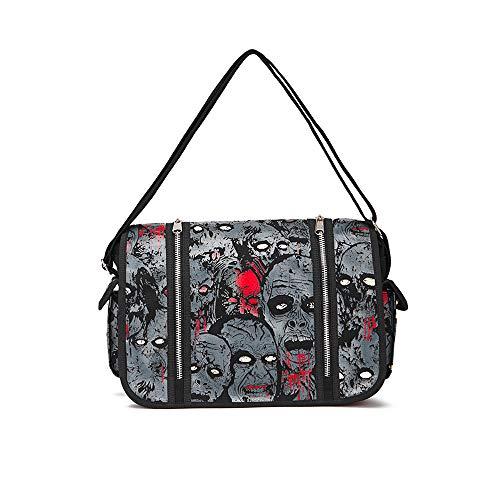 LEENY Canvas Reisetasche Luminous Handtasche, Fluoreszenz Schädel Tragetaschen Unisex Tasche, Outdoor-Freizeit-Umhängetasche, Messenger Bag Daypacks für Lagerung Bücher, Handys, iPad, usw,Gray -