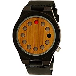 'Pure Time® Design Future Unisex Organic Natural Wood Leather Watch Black/Brown, Limited Edition + Watch Box