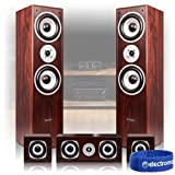 Skytronic 5.0 Walnut Surround Sound System Home Cinema House Party Hi-Fi Speakers 1150W