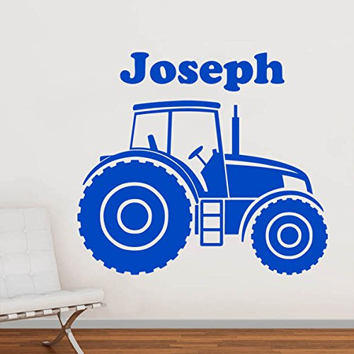 Personalised tractor farm vehicle boys name door or wall sticker art vinyl decal transfer childrens bedroom easy to apply free applicator easy peel