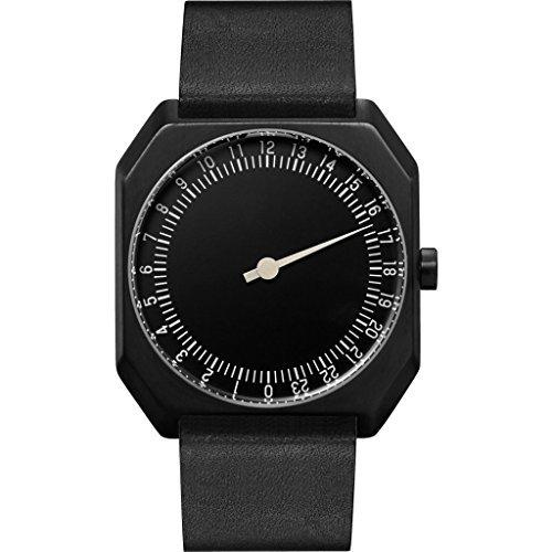 slow Jo 24 - Schweizer unisex Einzeigerarmbanduhr analoge 24 Stundenanzeige Leder schwarz