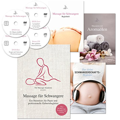 Massage für Schwangere: Ein Heimkurs für Paare und professionelle Geburtsbegleiter (190 Massage-Techniken auf 3 DVDs + 1 CD + 3 Booklets + Online-Stream) Schwangerschaftsmassage zuhause lernen. Sanfte Rückbildung und Geburtsvorbereitung