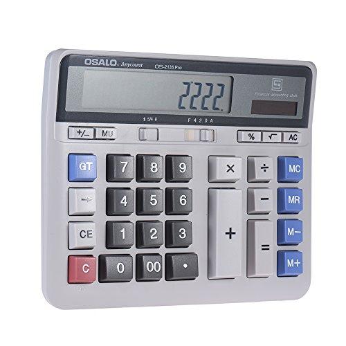 aibecy Großer Computer Elektronische Taschenrechner Zähler Solar & Batterie Power 12-stelligem Display Multifunktions-Big Button für Business Büro Schule Berechnung