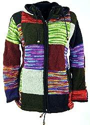Guru-Shop Patchwork Strickjacke, Wolljacke Nepal Jacke, Damen, Mehrfarbig, Wolle, Size:XL (42), Strickjacken, Ponchos Alternative Bekleidung
