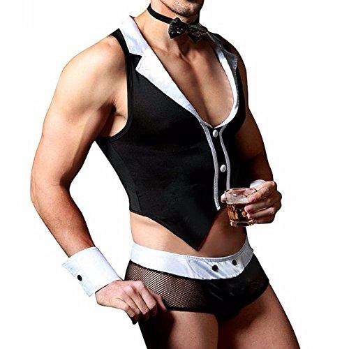 Kellner Outfit Barkeeper Kostüm Wetlook Erotik Männer Butler Striptease Sexy Dessous Unterwäsche Set (Cop Outfits Für Männer)