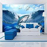 YUANLINGWEI Wandbild Tapete Foto Wandbild Ozean Hai Muster Benutzerdefinierte Tapete 3D Fotos Tv Hintergrund Wandbild Tapete Wohnzimmer Schlafzimmer Restaurant,100Cm (H) X 200Cm (W)