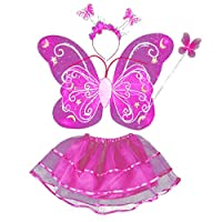 Baywell 4Pcs Butterfly Angel Double Wings Costume, Girl Fairy Costumes with Wings Headband with Magic Wand, Wings Kids Fairy Princess Costume Set Party Costume Dress Up (Rose Red)
