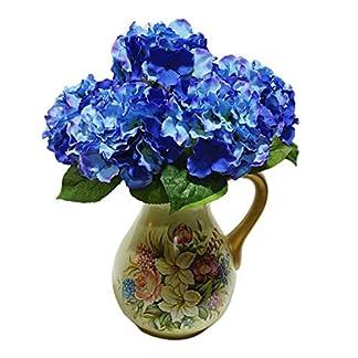 Ramo de flores artificiales – TOOGOO(R) ramo de 5 cabezas de flor de hortensia artificial para decoracion de boda jardin fiesta de color azul oscuro