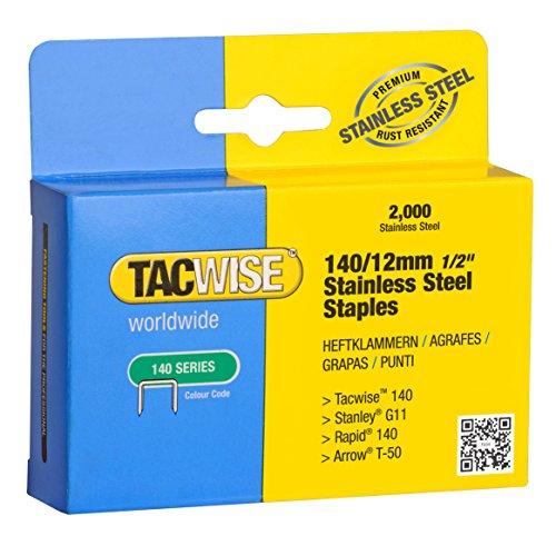 Tacwise 1220 Boîte de 2000 Agrafes en Acier Inoxydable 12 mm Type 140