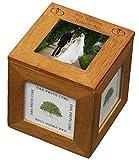 en bois de chêne souvenir de mariage de cadre photo Cube Box avec cœurs fantaisie Cadeau Idée de cadeau pour la mariée et marié cadeaux cadeaux