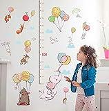 Nuovo simpatico elefante con palloncino Cartoon Animali Adesivi murali Altezza righello Misura per decalcomanie della decorazione della casa di arte della stanza dei bambini