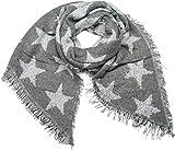 styleBREAKER Damen XXL Schal mit Sterne, Perlen und Fransen, Winter Strickschal 01017100, Farbe:Grau-Weiß