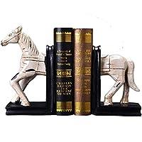 Lszdp-negozio Study Bookcase Nordic Retro Creative Horse Bookends Office Book Stall Book by Book Stand Clip Home Decoration Ornaments 31x26.5x11.5cm Office Study