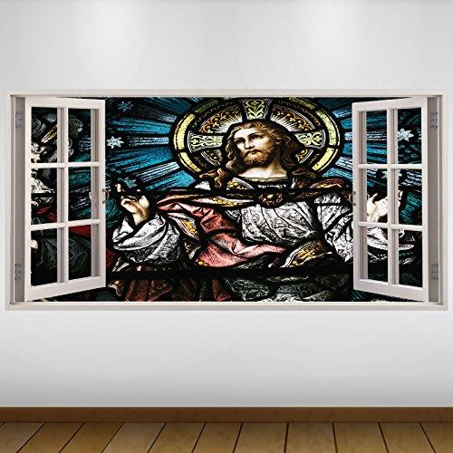 EXTRA GROßE Jesus Christ Glasmalerei Religion 3D Vinyl Sticker Poster Wandsticker Wandtattoo Wandbild Wanddeko -140cm x 70cm (s2817)