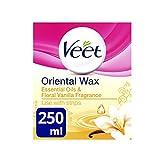 Veet, bottiglietta di oli essenziali e vaniglia floreale, cera calda utilizzabile in microonde, 250 ml.