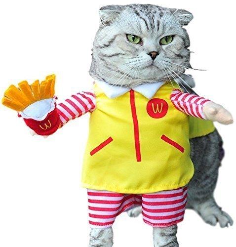 Fancy Me Haustier Junge Mädchen Hund mit unechte Arme Halloween Karneval Hund Turnier Kostüm Kleid Kostüm Outfit S-XL - gelb Server, - Mcdonald Kostüm