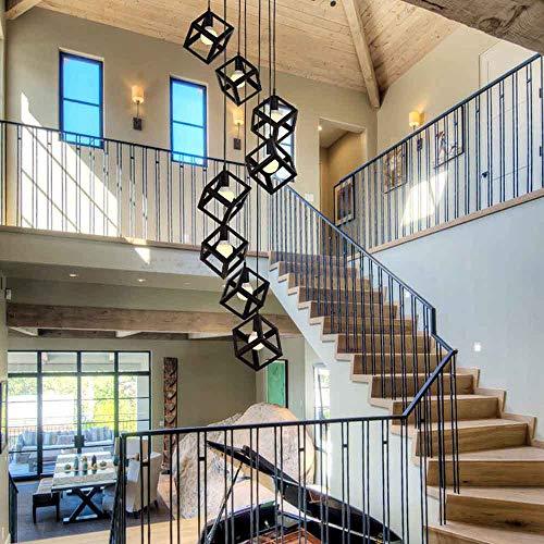 8 Kugeln Multi Lichter Treppe Eisen Kreativität Lange Kronleuchter Große Pendelleuchten Modernen Minimalistischen Deckenleuchte Für Wohnzimmer Duplex Haus Rotierenden Kronleuchter Schwarz Farbe E27 40
