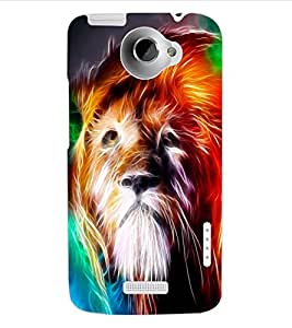 ColourCraft Lion Look Design Back Case Cover for HTC ONE X