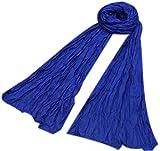 Bufandas Mujer Larga Mezcla Algodon Arrugado Bufanda Mujeres Caliente Suave Bufanda Primavera Otoño Invierno Azul real