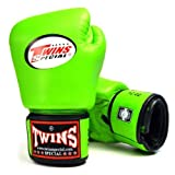 TWINS SPECIAL BOXING GLOVES GREEN COLOR PREMIUM LEATHER W/ VELCRO (10 oz.)