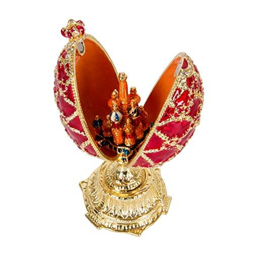 qifu handbemalt emailierten rot Fabergé Ei-Stil Dekorative Scharnier Schmuck Schmuckkästchen Einzigartiges Geschenk für Home Decor -