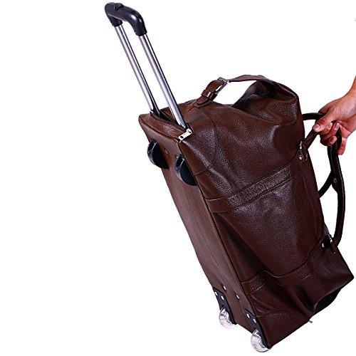 BAIGIO Herren Koffer mit Rollen Reisetasche trolley Handgepäck Reisekoffer Urlaub Lederoptik echt Lederkoffer Tasche, Braun