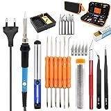 220 V 60 Watt Einstellbare Temperatur Elektrische Lötkolben Kit + 5 stücke Tipps Tragbare Schweißen Repair Tool Lötzinn, Entlötpumpe, Lötständer, ESD Pinzette usw Eu-stecker
