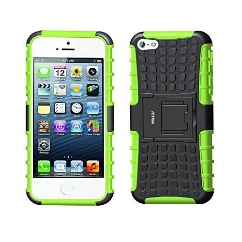 Fetrim Custodia iPhone 5S, cover supporto anti Case, TPU Plastica Bumper Rugged armatura ultra protezione Copertura Cassa Shell Caso per iPhone 5/5S/Se - verde