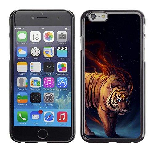GooooStore/Housse Etui Cas Coque - Tiger Fierce Flames Wild Cat Art Blue Eyes - Apple Iphone 6 Plus 5.5