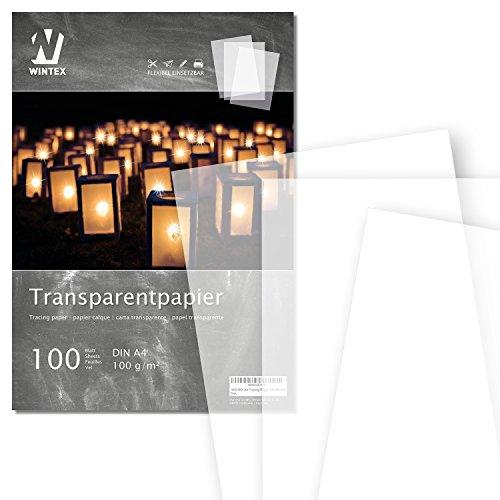 WINTEX 100 Blatt Premium Transparentpapier DIN A4, 100 g/qm, Super Qualität - weißes Bastelpapier - bedruckbar