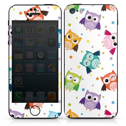 Apple iPhone 5s Case Skin Sticker aus Vinyl-Folie Aufkleber Eulen Muster Bunt DesignSkins® glänzend