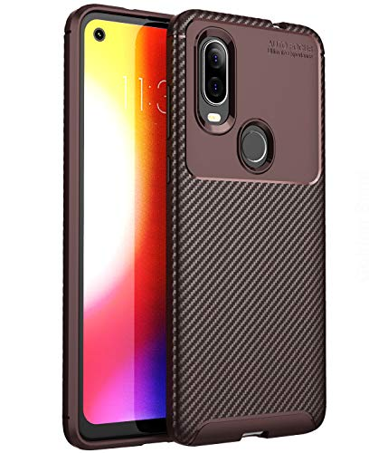 Golden Sand for Motorola One Vision Back Cover Case Aramid Carbon Fibre Shockproof TPU, Brown (Moto One Vision Mobile) Ultimate Protection from Drops