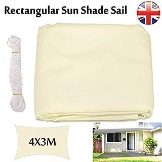 Autofather beige Sun Segel rechteckig 3x 4m Terrasse Markise Himmel für Outdoor Garten Schwimmbad Shelter Wasserdicht UV-leicht mit D-Ringen & Seil, 5Jahre Garantie