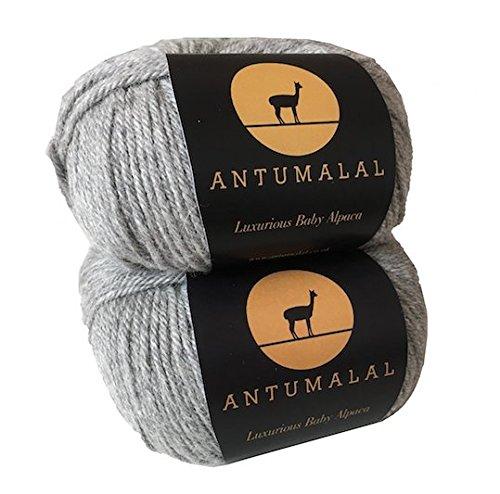 Antumalal 100% Alpaka Wolle 100g (2x50g) (2x112m) Strickwolle Nadelstärke 6 Hypoallergen Luxury (Grau)