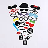 #8: 2 Naissance Photo Booth Props 31Pieces DIY Kit for Wedding Dress-up Accessories & Photo Shoots & Special Events Party Favors Party supplies Costumes with Mustache on a stick