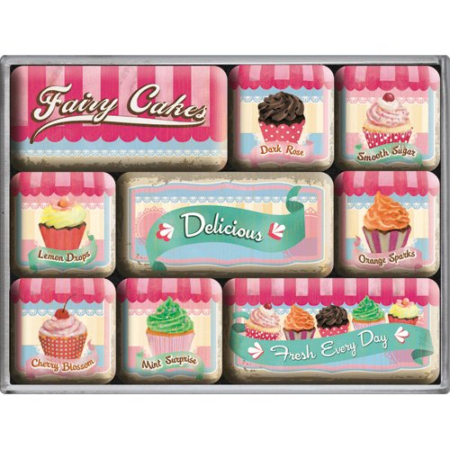 Nostalgic-Art 83055 Home & Country - Fairy Cakes - Delicious, Magnet-Set (9teilig)