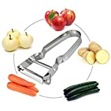 Cortador de Corte,VENMO Acero Inoxidable Pelador de Patatas Frutas Vegetales Velocidad Spud (B)